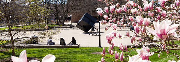 The Cube during spring time on U-M's campus