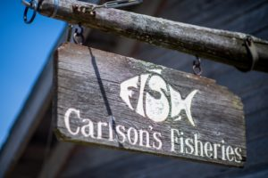 Carlson's Fisheries sign in Leland, Michigan