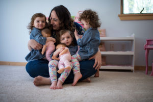 Triplets Josie, Rosie, and Ellie Buursma. Josie and Rosie's plagiocephaly was treated with helmet therapy developed at the University of Michigan