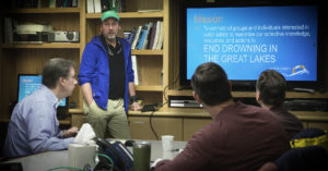 The University of Michigan's Jamie Racklyeft speaks to meteorologists about rip currents