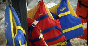 Life jackets at a Lake Michigan beach