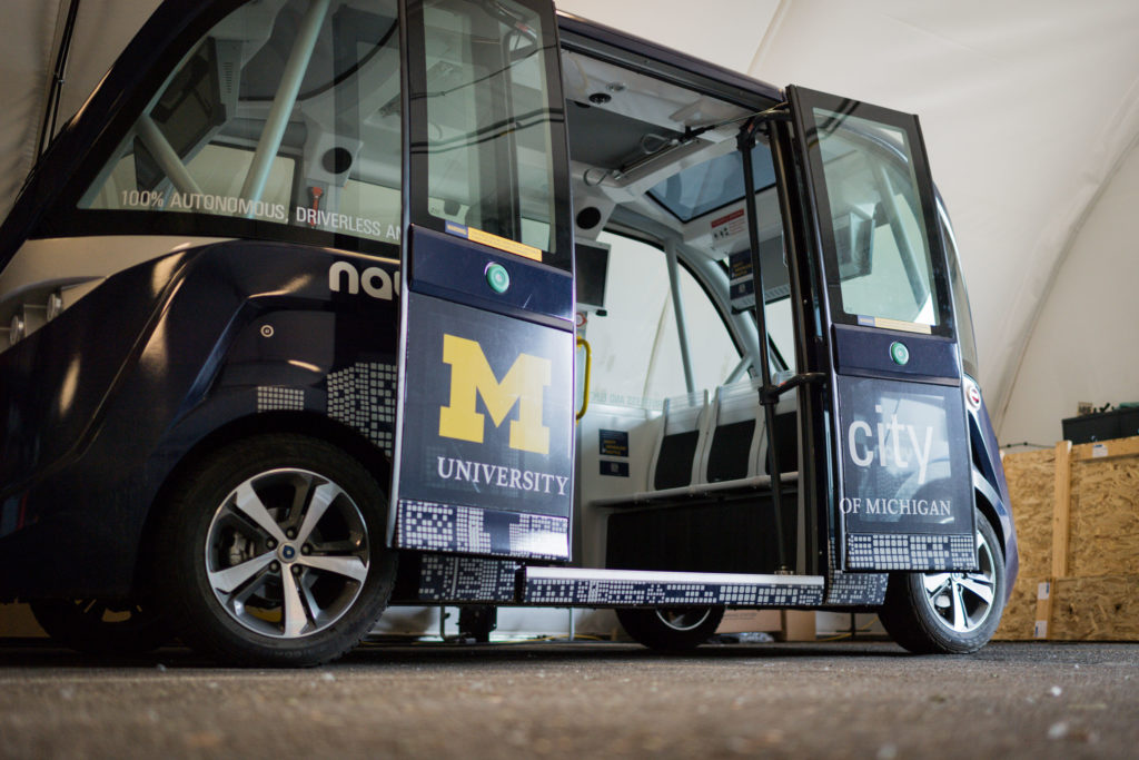 An Mcity Driverless Shuttle at the University of Michigan
