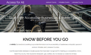 screen shot of the Access for All website