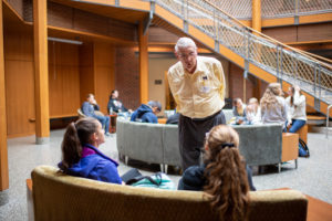 Bob Cook meets with students to talk about the Cook Family Foundation, which helps hundreds of Shiawassee County students attend the University of Michigan every year