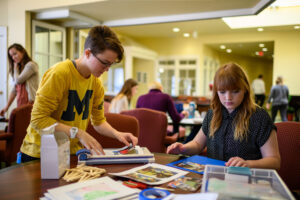 U-M students assemble materials for art projects