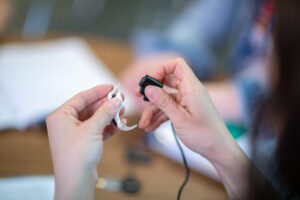 A cochlear implant. The University of Michigan's Cochlear Implant program is one of the oldest in the country