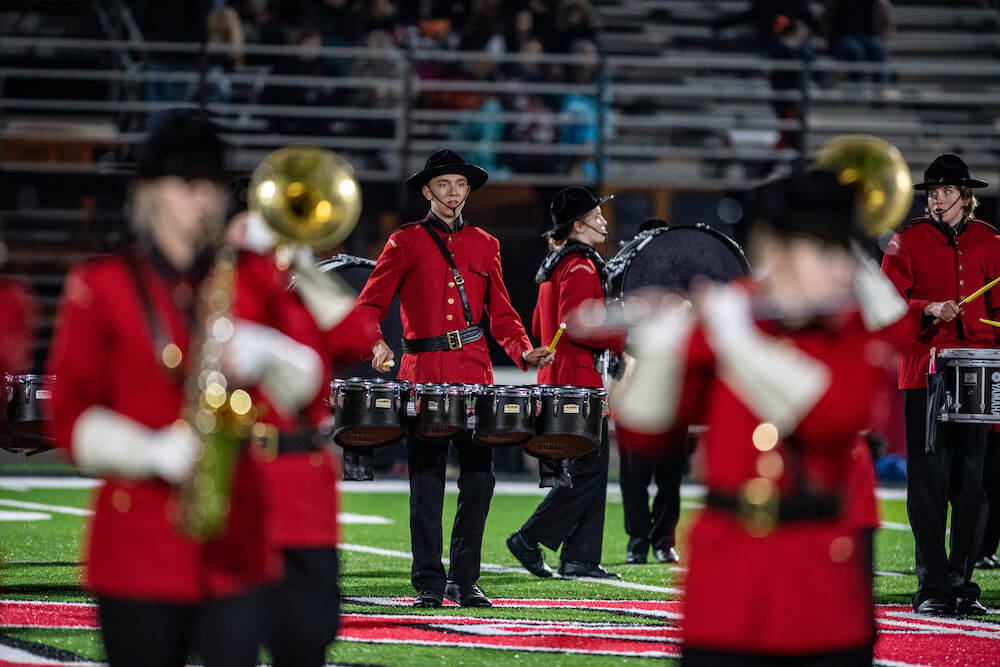 The Marching Mounties band from Northwest High in Jackson, Michigan, includes about 140 students