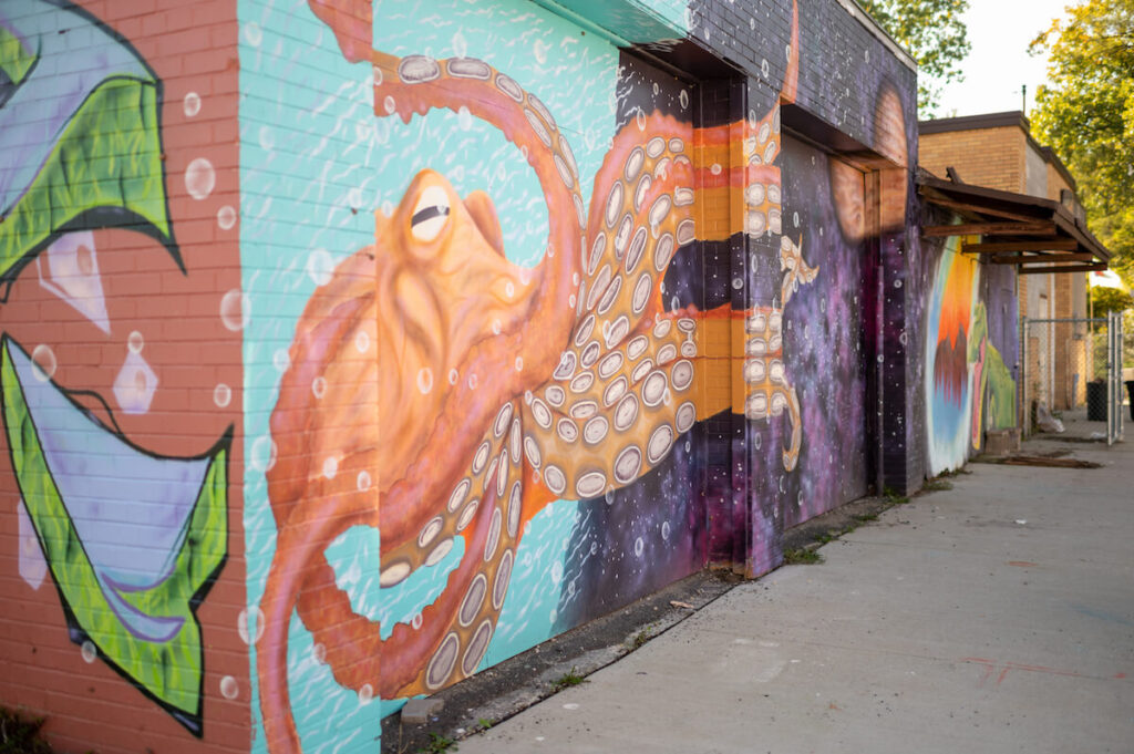 The student-painted mural at the Brightmoor Maker Space in Detroit is an homage to Diego Rivera
