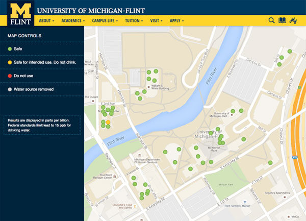 university of michigan flint campus map Um Flint Releases Interactive Campus Water Testing Results Map