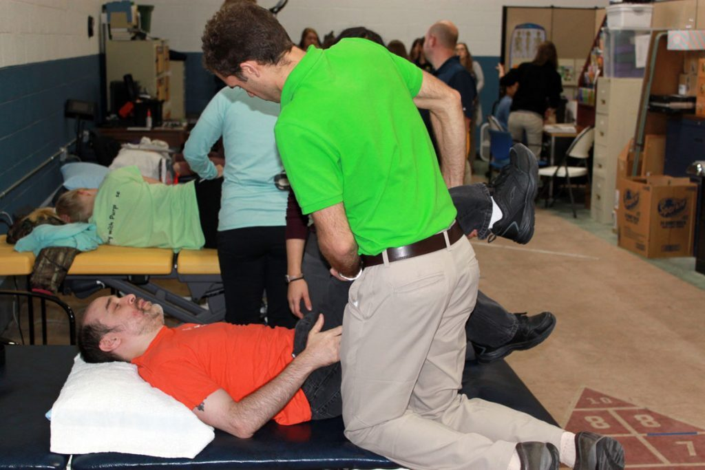 Burton resident Dave Schultz comes to PT Heart for therapy related to cerebral palsy.