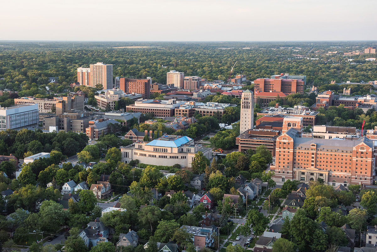 Aerial photo of residential Ann Arbor and U-M central campus