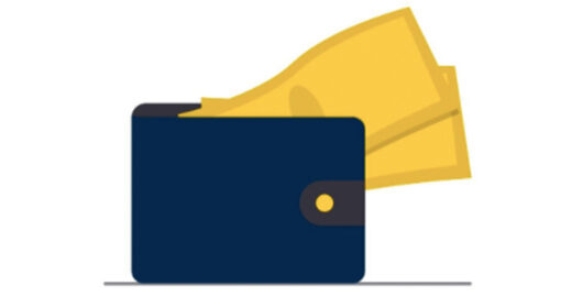 A graphic of a blue wallet with yellow cash sticking out