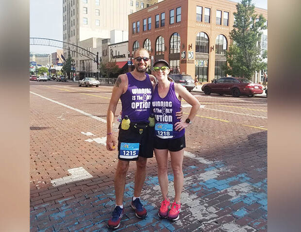 Mike and Missy Skaggs running in city