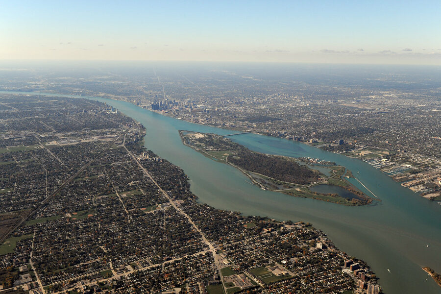 Detroit river aerial view
